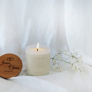 Jason and Joanne engraved timber lid Byron Bay Candles